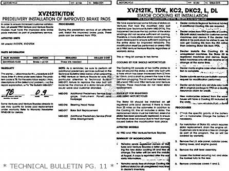 Yamaha Xvz12tdk Venture Royale 1983   Technical Bulletin Pg  11