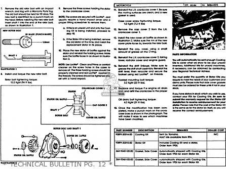 Yamaha Xvz12tdk Venture Royale 1983   Technical Bulletin Pg  12