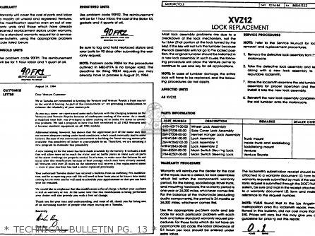 Yamaha Xvz12tdk Venture Royale 1983   Technical Bulletin Pg  13