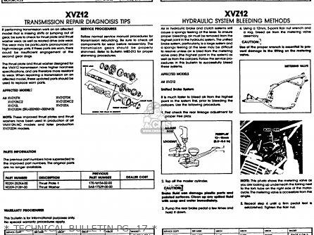 Yamaha Xvz12tdk Venture Royale 1983   Technical Bulletin Pg  17