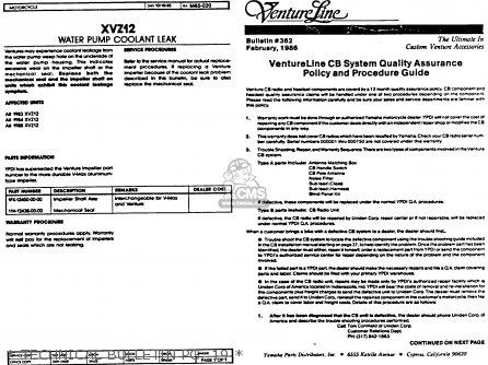 Yamaha Xvz12tdk Venture Royale 1983   Technical Bulletin Pg  19