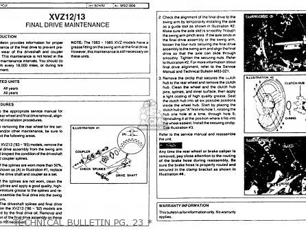 Yamaha Xvz12tdk Venture Royale 1983   Technical Bulletin Pg  23