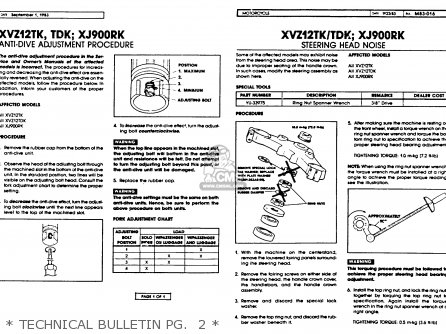 Yamaha Xvz12tdk Venture Royale 1983   Technical Bulletin Pg   2