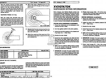 Yamaha Xvz12tdk Venture Royale 1983   Technical Bulletin Pg   6