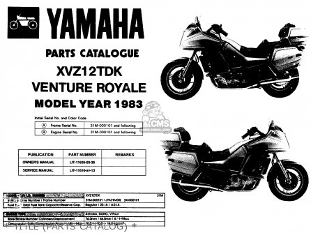 Yamaha Xvz12tdk Venture Royale 1983   Title parts Catalog