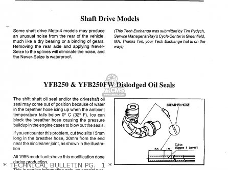 Yamaha Yfb250fwg maine  New Hampshire 1995   Technical Bulletin Pg   1