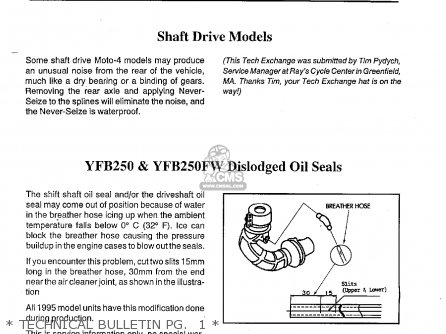 Yamaha Yfb250g maine  New Hampshire 1995   Technical Bulletin Pg   1