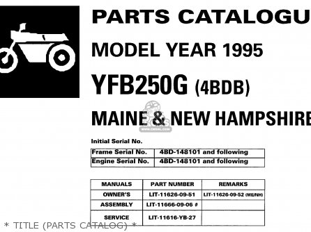 Yamaha Yfb250g maine  New Hampshire 1995   Title parts Catalog