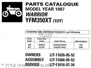 Yamaha Yfm350xt 1987 Warrior   Title parts Catalog
