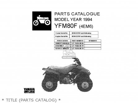 Yamaha Yfm80f 1994   Title parts Catalog