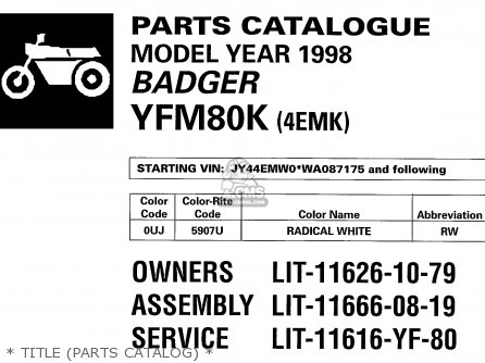 Yamaha Yfm80k 1998   Title parts Catalog