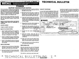 Yamaha Yfm80n Moto-4 1985   Technical Bulletin Pg   1