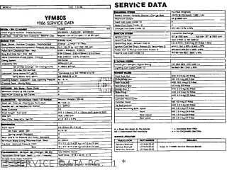 Yamaha Yfm80s Moto-4 1986   Service Data Pg   1