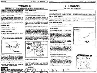 Yamaha Yfm80s Moto-4 1986   Technical Bulletin Pg   1