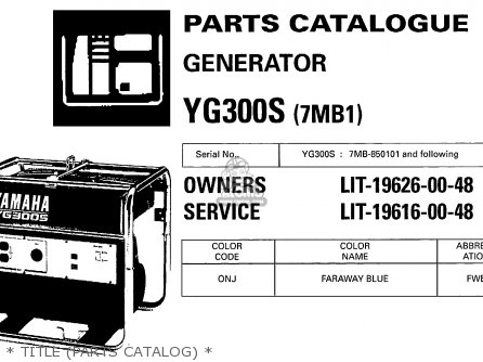 Yamaha Yg300s 7mb1 Generator   Title parts Catalog