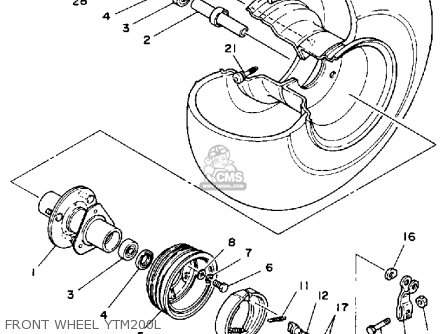 Yamaha Ytm200l Tri-moto 1984 Front Wheel Ytm200l