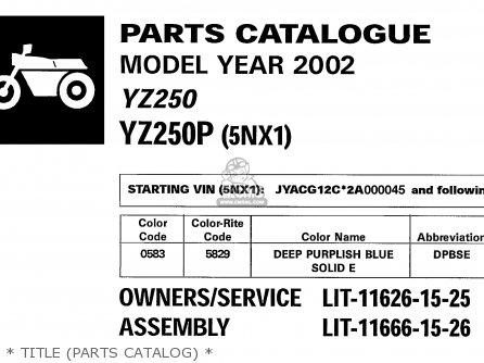 Yamaha yz250 2002 2 usa parts list partsmanual partsfiche for Yamaha electronic parts catalog