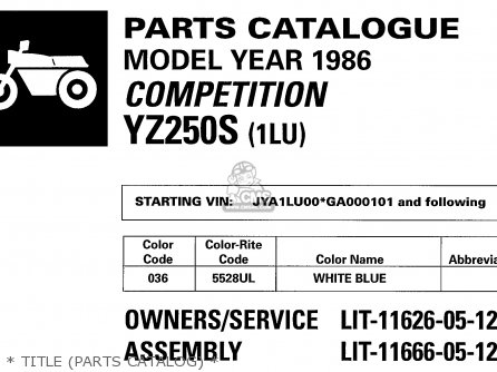 Yamaha Yz250s 1986   Title parts Catalog