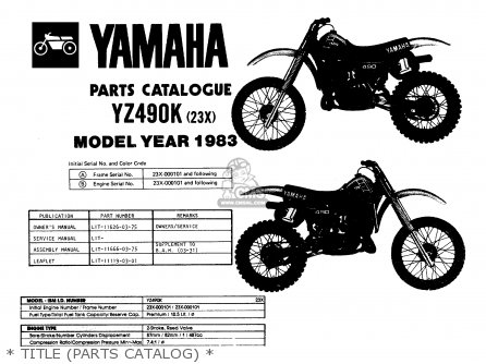 Yamaha yz490 competition 1983 d usa parts lists and for Yamaha electronic parts catalog