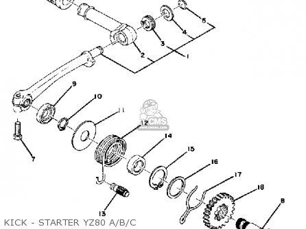 Yamaha Yz80a Competition 1974-1976 Kick - Starter Yz80 A b c