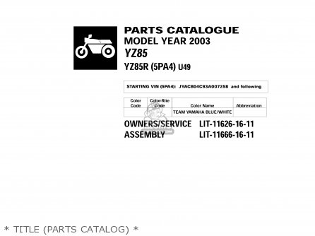 Yamaha YZ85 2003 (3) USA parts lists and schematics