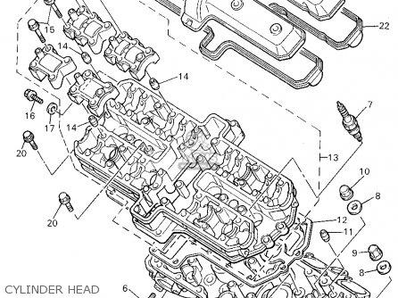 yamaha yzf750r 1994 (r) usa cylinder head