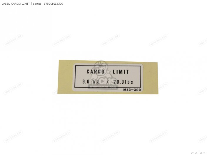 (87520MZ3310) LABEL,CARGO LIMIT