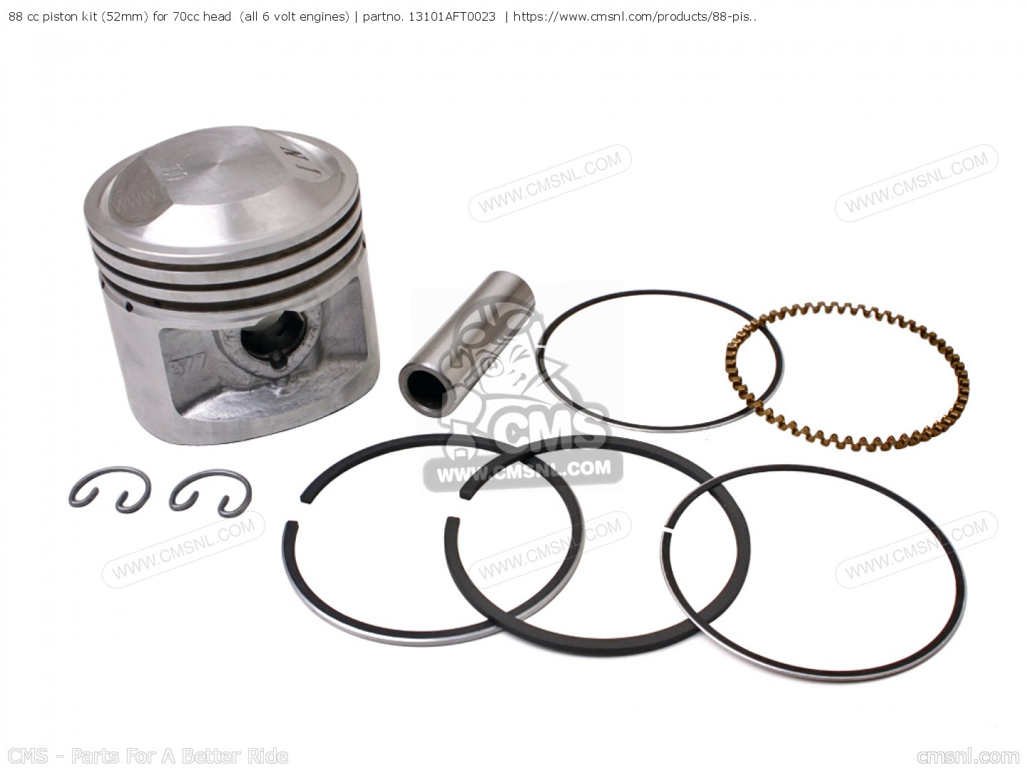 88 cc piston kit (52mm) for 70cc head (all 6 volt engines)