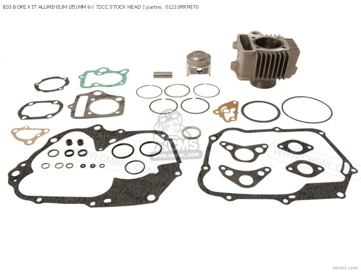 Custom Parts Cylinder Kit Alloy 51mm  52 Stroke O t  6 Volt 70 Head