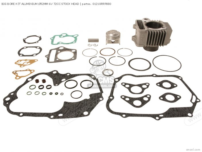 Custom Parts Cylinder Kit Alloy 52mm  52 Stroke O t  6 Volt 70 Head