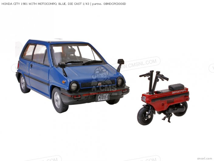 HONDA CITY 1981 WITH MOTOCOMPO  BLUE  DIE CAST 1 43