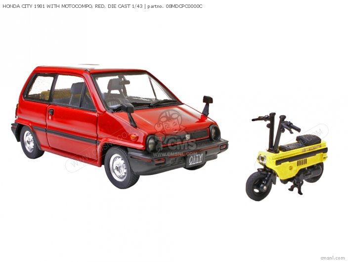 HONDA CITY 1981 WITH MOTOCOMPO  RED  DIE CAST 1 43