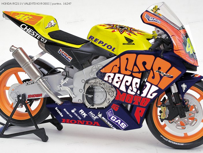 HONDA RC211V #46 Valentino Rossi Diecast Motorcycle Model scale die cast