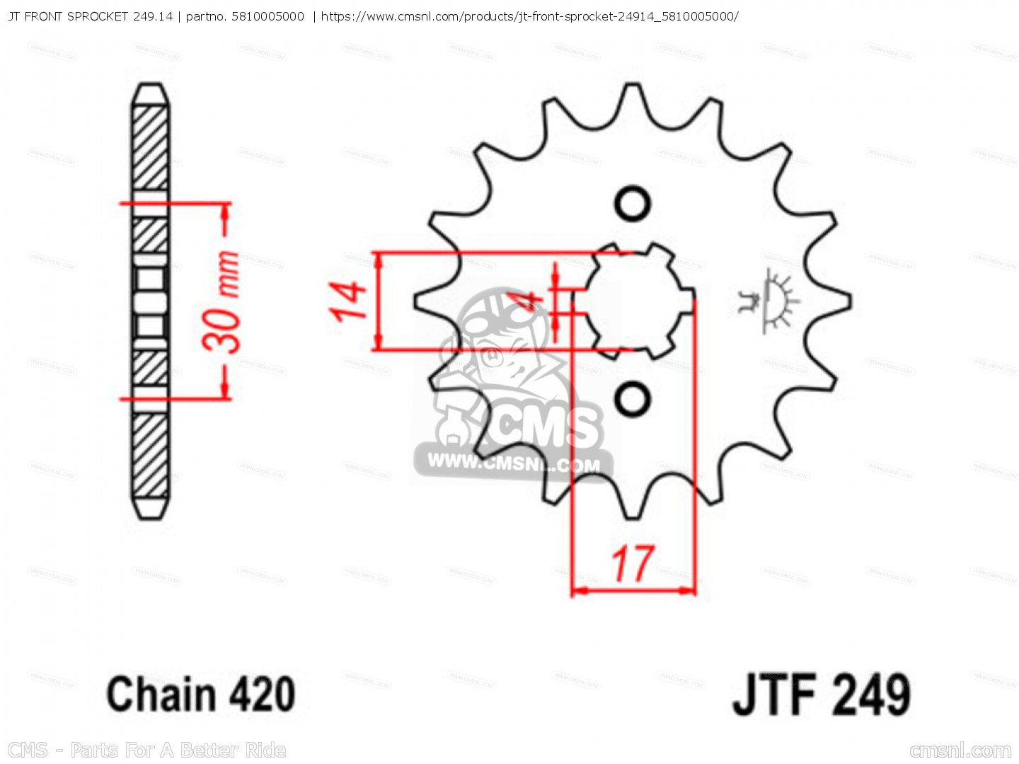 Jt Front Sprocket 24914 Fits Cr80r 1980 A Usa Order At Cmsnl Tsubaki Wiring Diagram Photo