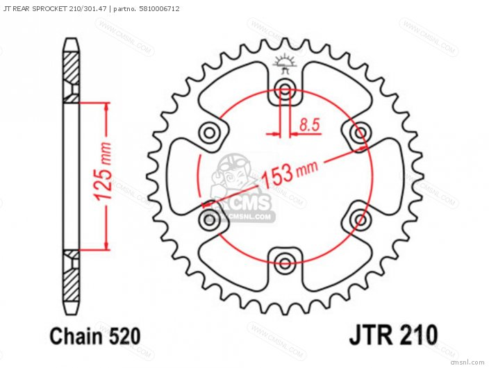 Jt Rear Sprocket 210/301.47 photo