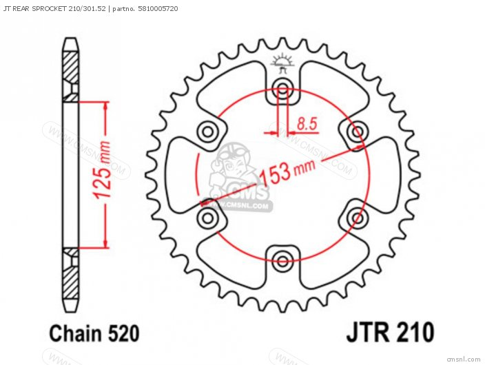 Jt Rear Sprocket 210/301.52 photo