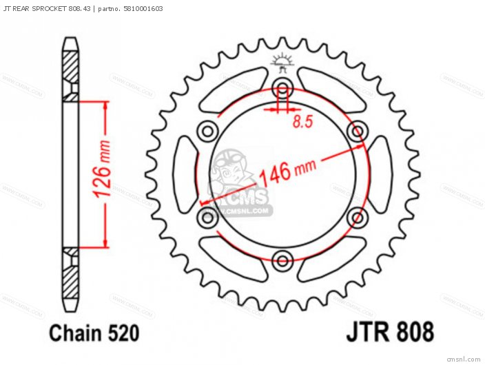 JT REAR SPROCKET 808 43