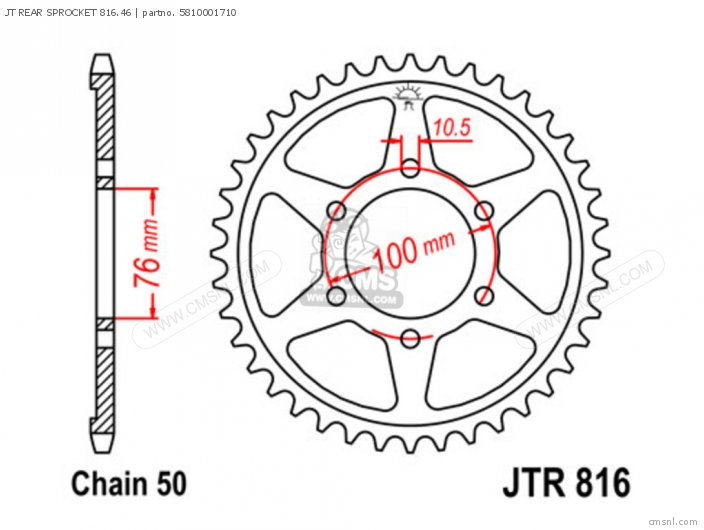 JT REAR SPROCKET 816 46