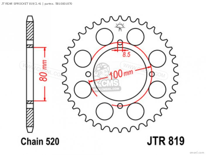 Jt Rear Sprocket 819/2.41 photo