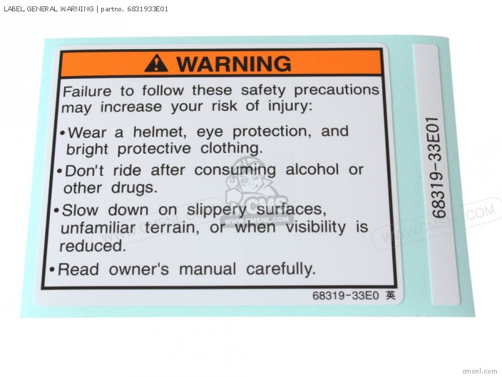 Label, General Warning photo