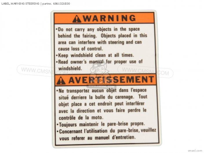 Label, Warning Steering photo