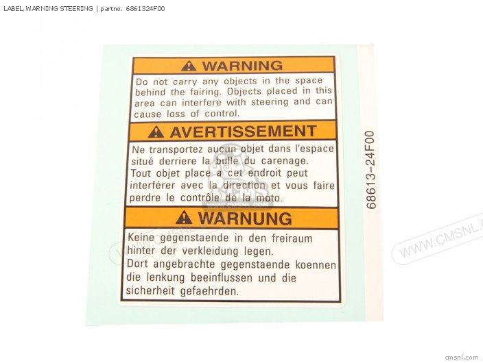 Label, Warning Steering photo