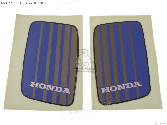 Honda NAME PLATE-BLUE 08161MS931
