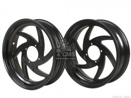 SET COMP, WHEEL 12 INCH 2.75F 3.50R TUBELESS (BLACK)