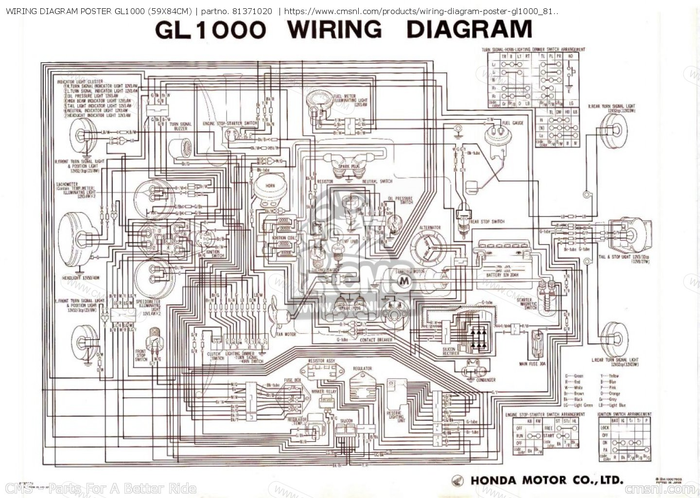 81371020: wiring diagram poster gl1000 (59x84cm) honda - buy the 81371-020-  at cmsnl  cmsnl.com