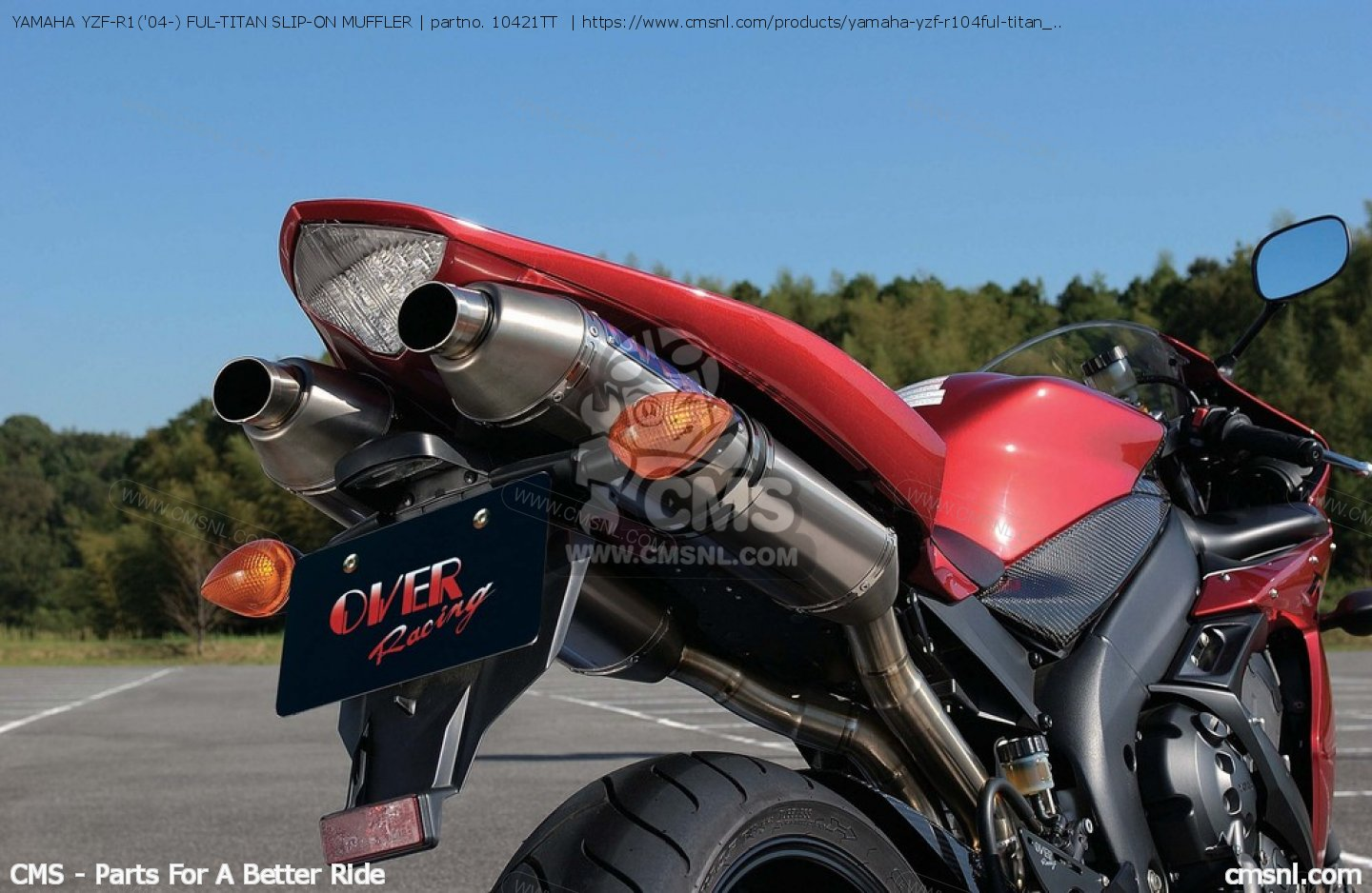 EXHAUST SYSTEMS YAMAHA YZF-R1('04-) FUL-TITAN SLIP-ON MUFFLER 10421TT, fits Over Racing